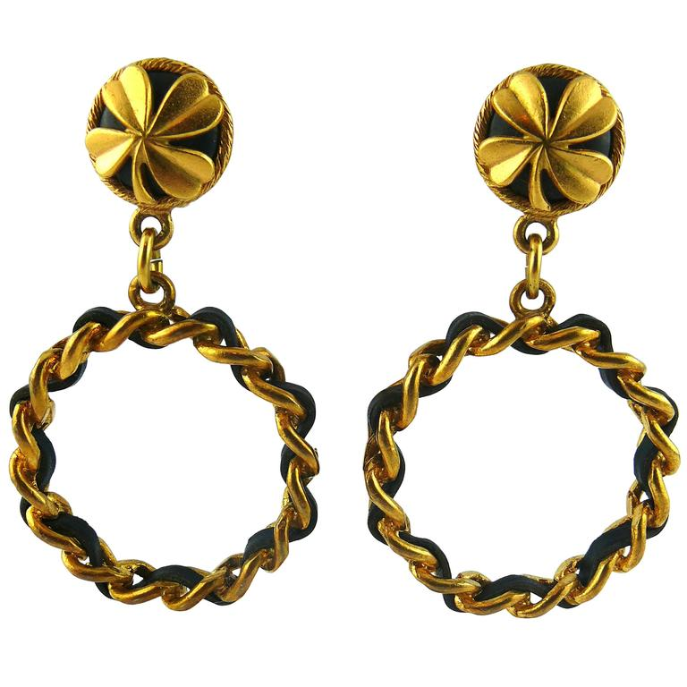 Chanel Vintage Iconic Clover Chain and Leather Hoop Earrings 1994 For Sale