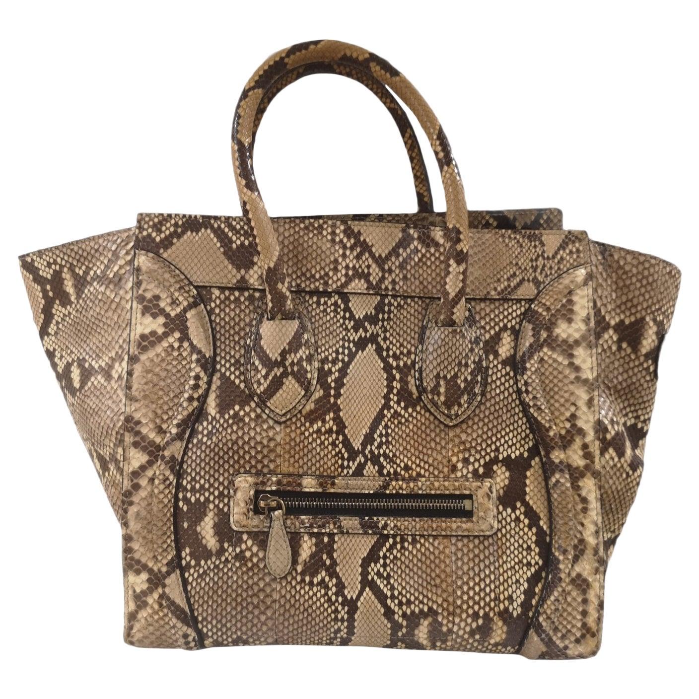 Cèline Luggage python skin handle bag