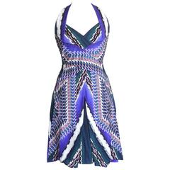 Peter Pilotto Dress Vivid Print Halter Style Beautiful Details  6  nwt