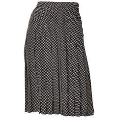 Yves Saint Laurent Silk Polka Dot Pleated Skirt