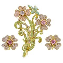 Butler & Wilson Gold Tone Flower Brooch and Earrings with Crystals