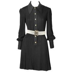 Galanos Ribbed Shirt Dress With Multistrand Pearl Belt