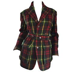 Classic Vintage Ralph Lauren ' Blue Label ' Tartan Plaid Belted Wool Car Coat