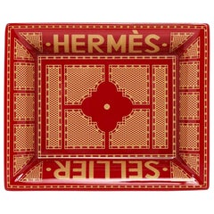 Hermes Change Tray Hermes Sellier Rouge / Or Limoges Porcelain New w/ Box