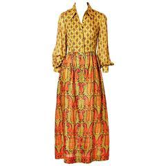 Bonwit Teller Silk Paisley Pattern 70's Boho Maxi Dress