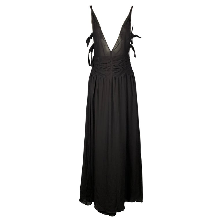 EMPORIO ARMANI 2002 Size 6 Black Chiffon Ruched Plunging Gown For Sale