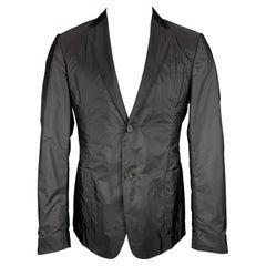 PRADA Size 40 Black Nylon Notch Lapel Sport Coat