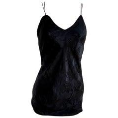 Black silk jacquard short slip dress with side slit - Flora Kung