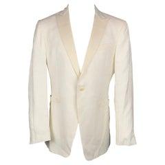 JOHN VARVATOS Size 42 Long Beige Jacquard Linen / Cotton Sport Coat