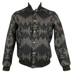 PENDLETON Size S Black & Grey Woven Wool / Cotton Snaps Jacket