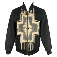 PENDLETON Size M Black & Beige Woven Wool Blend Snaps Jacket