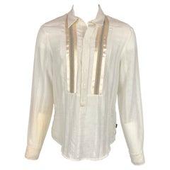 JUST CAVALLI Size L Cream Textured Cotton Long Placket Long Sleeve Shirt