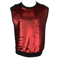 DRIES VAN NOTEN S/S 16 Size M Red & Black Sequined Cotton / Polyester Vest