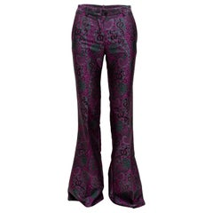 Roberto Cavalli Purple & Multicolor Paisley Jacquard Pants