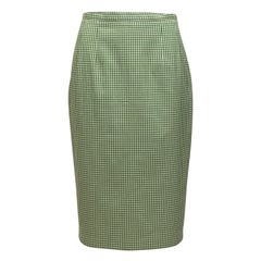 Michael Kors Green & White Collection Gingham Pencil Skirt