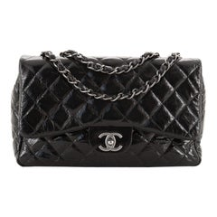 Chanel Vintage Classic Single Flap Bag Quilted Crinkled Patent Jumbo