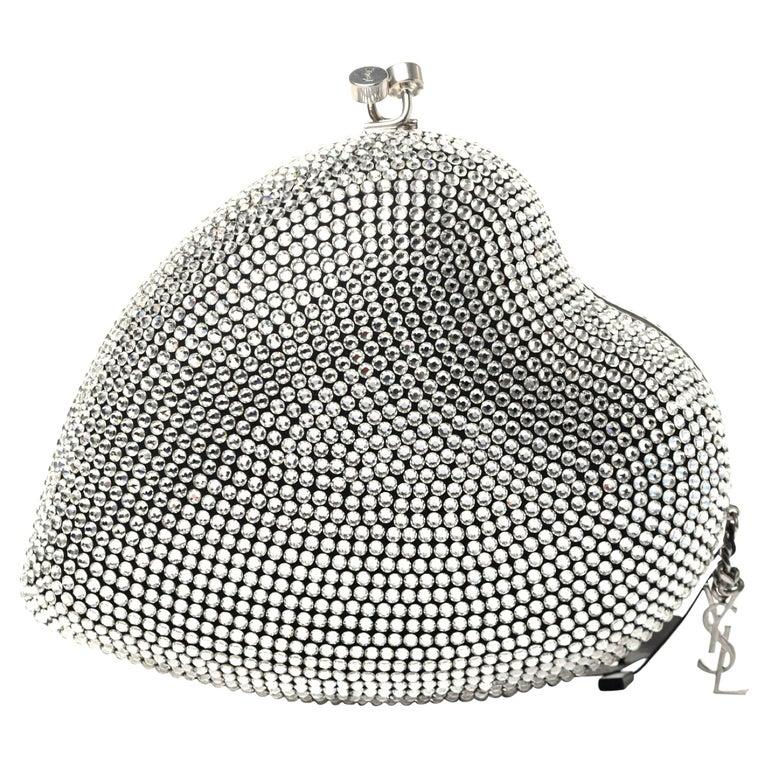 Saint Laurent Love Box Swarovski Crystal Heart Limited Edition Clutch (484049) For Sale