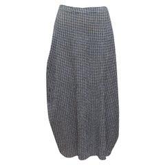 Jil Sander Navy & White Gingham Midi Skirt