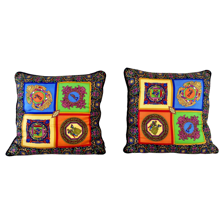Gianni Versace Atelier Rare Vintage Silk Pillows - A Pair
