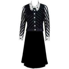 1992 Valentino Couture Black Velvet Sheer-Illusion Beaded Silk Dress & Jacket