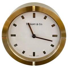 New Tiffany & Co Brass Swiss Made Desk Clock