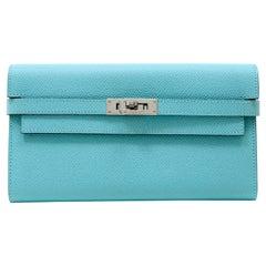 Hermès Tiffany Blue Epsom Kelly Wallet