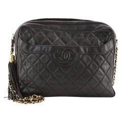 Chanel Vintage Front Pocket Camera Bag Quilted Leather Large