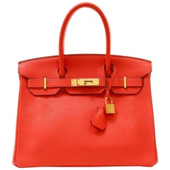 Hermès Poppy Red Togo 30 cm Birkin Bag with Gold Hardware