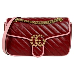 Gucci 2021 Red & Pink Leather GG Marmont Small Flap Shoulder Bag w/ Enamel Logo