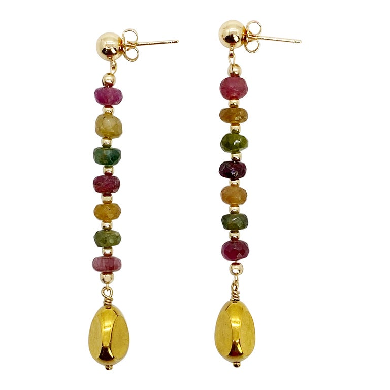 Rainbow Tourmaline with German Gold Nugget Earrings For Sale