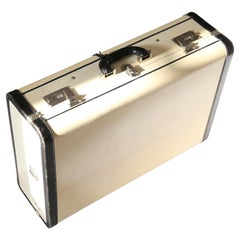 Prada Pergamena vintage style ivory black hard leather luggage bag suitcase case