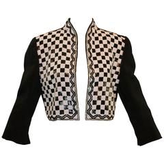 1980's Odicini Couture by Amen Wardy Beaded Checkered Cropped Short Jacket 42