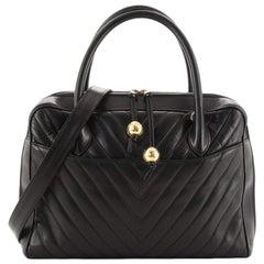 Chanel Vintage Convertible Briefcase Bag Chevron Lambskin Large