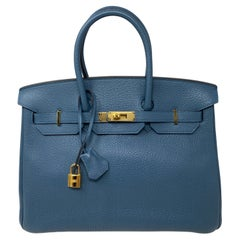 Hermes Birkin Blue Colvert Bag