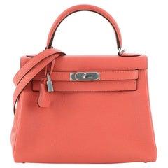 Hermes Kelly Handbag Rose Jaipur Clemence with Palladium Hardware 28