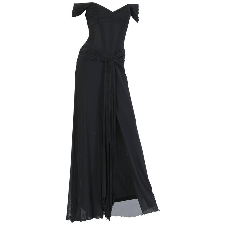 Vicky Tiel long Black Corseted Gown