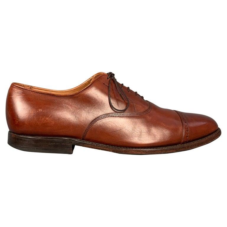 ALLEN EDMONDS Byron Size 15 Brown Leather Cap Toe Lace Up Shoes For Sale