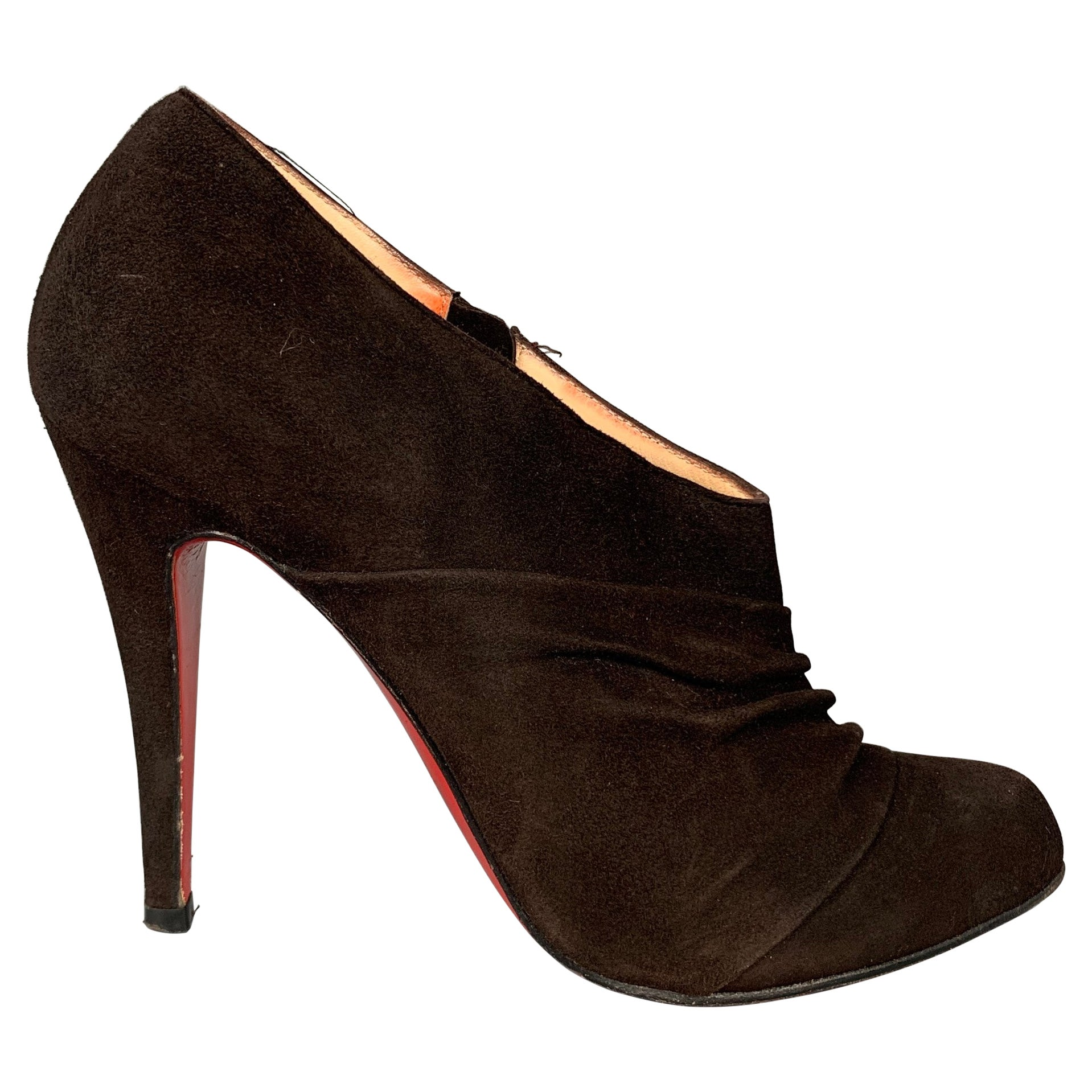 CHRISTIAN LOUBOUTIN Size 7 Dark Brown Suede Ruched Boots