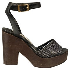 STELLA McCARTNEY Size 6 Black & Brown Woven Faux Leather Sandals