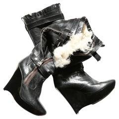 Balenciaga F/W 04 black leather shearling fur zip platform wedge heels boots 39