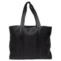 Ermenegildo Zegna Black Woven Leather Tote Bag