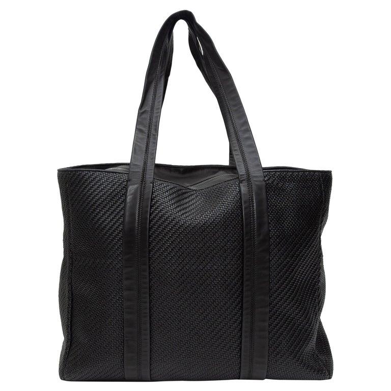 Ermenegildo Zegna Black Woven Leather Tote Bag For Sale