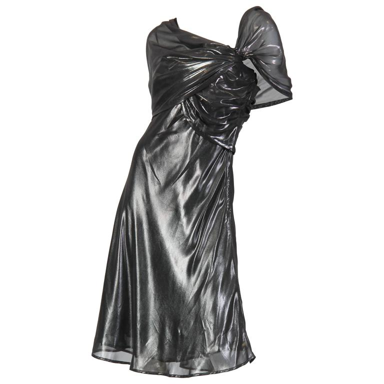 59a812c0f71 Liquid Silver Draped Chiffon Krizia Cocktail Dress For Sale at 1stdibs