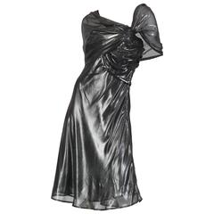 Liquid Silver Draped Chiffon Krizia Cocktail Dress