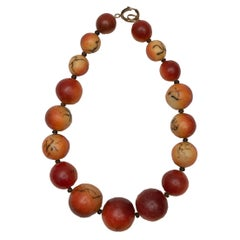 Agate Coral Large Bead Choker