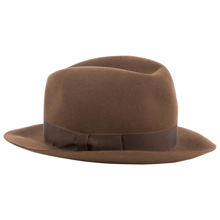 Chocolate Grosgrain Band Hermès Fedora Hat