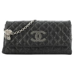 Chanel Butterfly Chain Clutch Quilted Glitter Fabric