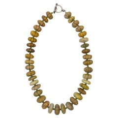Agate Green Carved Bead Necklace