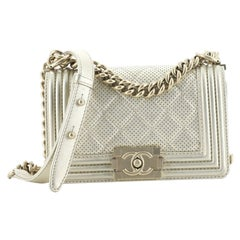Chanel Boy Flap Bag Quilted Metallic Perforated Calfskin Small