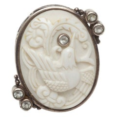 Echo White & Sterling Silver of the Dream Carved Bird Ring